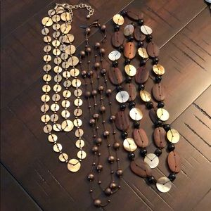 Natural tone layering necklaces